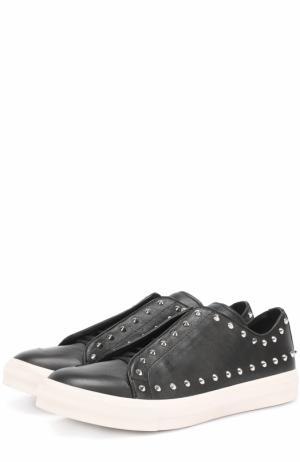 Кожаные кеды на шнуровке с декоративными шипами Alexander McQueen. Цвет: черный