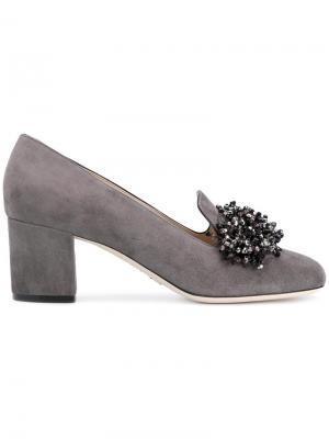 Туфли-лодочки с украшением из бусин Elie Saab. Цвет: серый