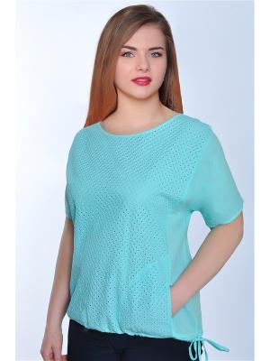 Блузка RISE. Цвет: бирюзовый