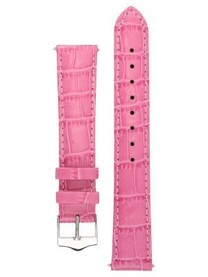 Элегантный ремешок для часов из кожи теленка с фактурой под аллигатора. Ширина от 14 до 24 мм. Signature. Цвет: розовый