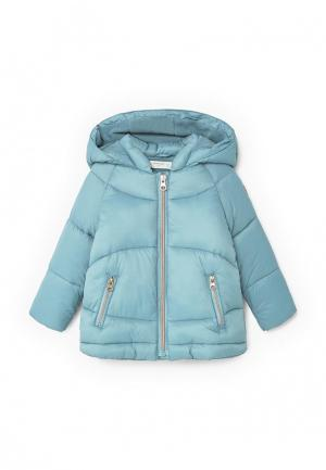 Куртка утепленная Mango Kids. Цвет: голубой