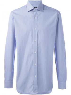 Рубашка в полоску Barba. Цвет: синий