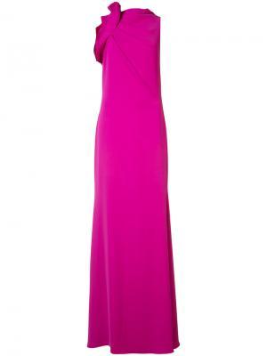 Расклешенное платье с драпированной деталью Badgley Mischka. Цвет: розовый и фиолетовый
