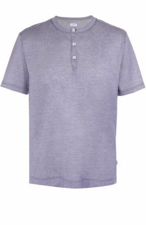 Хлопковая футболка хенли Zimmerli. Цвет: темно-синий