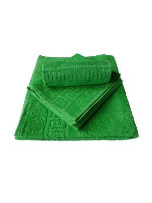 Набор: полотенце махровое  3 штуки ARLONI. Цвет: зеленый