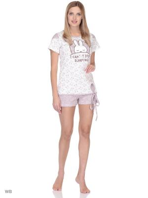 Пижама-футболка, шорты NAGOTEX. Цвет: молочный, бежевый