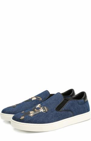 Текстильные слипоны London с аппликацией Dolce & Gabbana. Цвет: синий