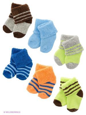Носки, 6 пар Luvable Friends. Цвет: голубой, коричневый, салатовый, серый, синий, оранжевый