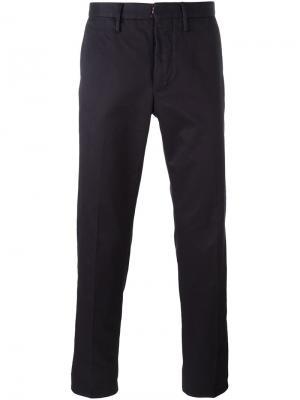 Классические брюки-чинос Incotex. Цвет: синий