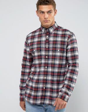 Jack Wills Черная фланелевая рубашка с принтом тартан Salcombe. Цвет: черный