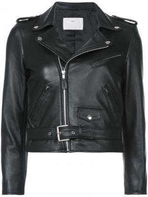 Укороченная байкерская куртка Toga. Цвет: чёрный