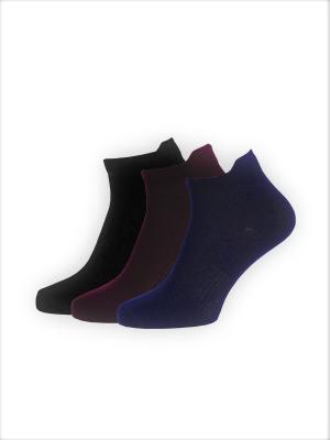Носки, 3 пары HOSIERY. Цвет: черный, бордовый, синий