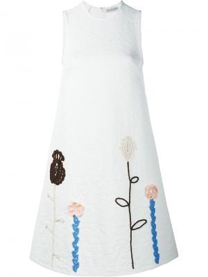 Платье с цветочными деталями крючком Vika Gazinskaya. Цвет: белый