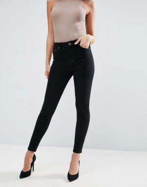 ASOS Черные джинсы скинни с завышенной талией RIDLEY. Цвет: черный
