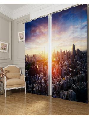 Фотошторы Солнце сквозь город, Блэкаут Сирень. Цвет: синий, коричневый, оранжевый, розовый, фиолетовый