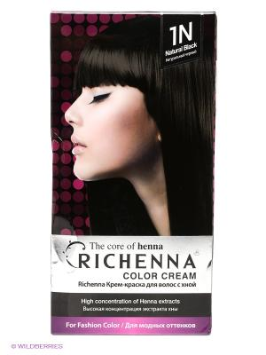 Крем-краска для волос с хной, №1N (Natural Black) Richenna. Цвет: черный