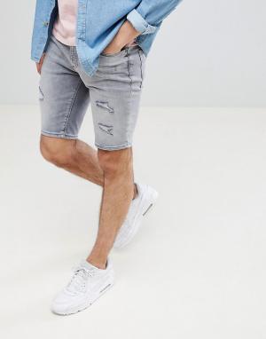 River Island Серые джинсовые шорты с прорехами. Цвет: серый