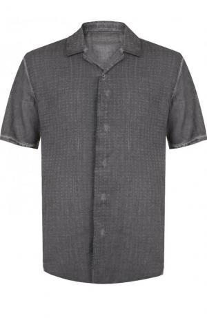 Хлопковая рубашка с коротким рукавами Transit. Цвет: темно-серый