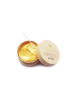 Гидрогелевые патчи для глаз с муцином улитки и коллоидным золотом  60 шт Petitfee. Цвет: золотистый