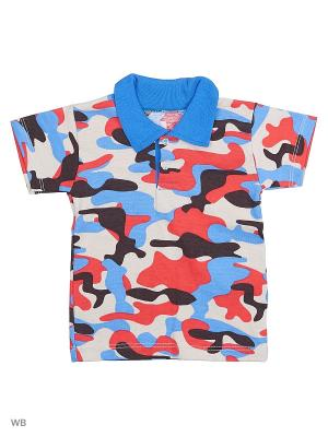 Рубашка-поло Babycollection. Цвет: синий, бежевый