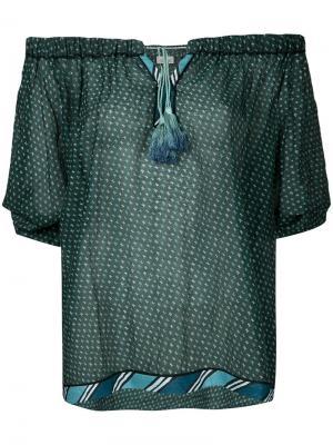 Топ с завязками и открытыми плечами Talitha. Цвет: зелёный