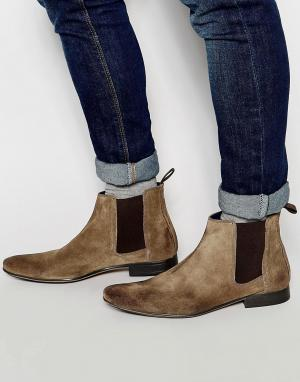 Frank Wright Серо-коричневые замшевые ботинки челси. Цвет: коричневый
