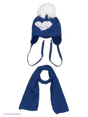 Шапка и шарф Agbo. Цвет: синий, молочный