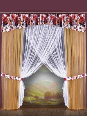 Комплект штор Wisan. Цвет: бежевый, коралловый, белый