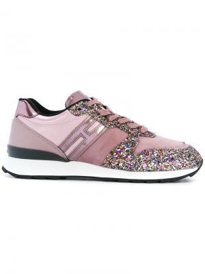Кроссовки с блестящими панелями Hogan. Цвет: розовый и фиолетовый