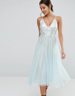 ASOS Приталенное платье миди со свободной юбкой и эффектом металлик. Цвет: зеленый