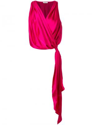 Блузка с запахом и V-образным вырезом Attico. Цвет: розовый и фиолетовый