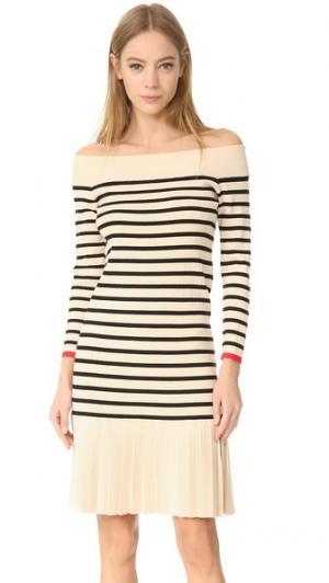 Платье в полоску с вырезом «лодочкой» Edition10. Цвет: черный/абрикосовый