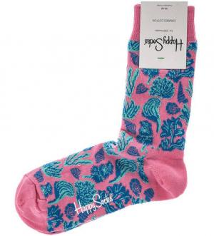 Хлопковые носки с принтом Happy Socks. Цвет: синий