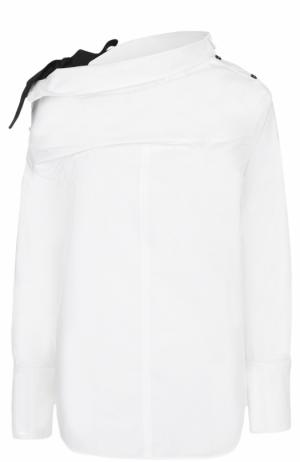 Хлопковая блуза ассиметричного кроя Proenza Schouler. Цвет: белый