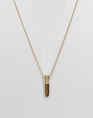 Love Bullets Ожерелье с подвеской из тигрового глаза Lovebullets. Цвет: золотой