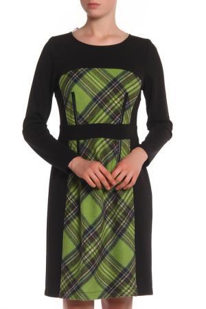 Трикотажное платье с узором клетка Tuzzi. Цвет: черный, зеленый принт