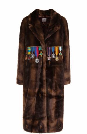 Шуба из искусственного меха с декоративной отделкой Stella Jean. Цвет: коричневый