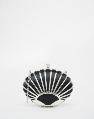 Vintage Styler Черный клатч в виде ракушки. Цвет: черный