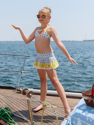 Купальник для девочек+юбка Arina. Цвет: синий,желтый,белый
