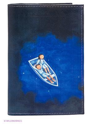 Обложка для паспорта Mitya Veselkov. Цвет: синий, белый, темно-синий
