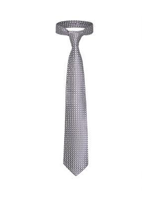 Классический галстук Крупная сделка в Мадриде со стильным принтом Signature A.P.. Цвет: серо-коричневый, серебристый
