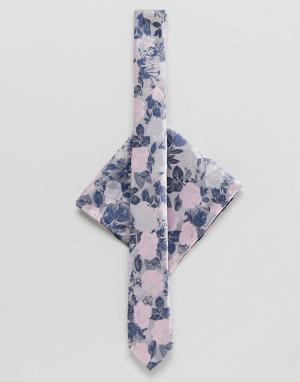 ASOS Галстук и платок для нагрудного кармана с цветочным принтом DESIG. Цвет: серый
