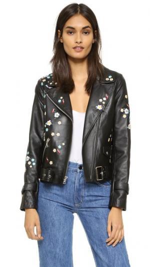 Кожаная куртка Delancey с цветочным рисунком Sandy Liang. Цвет: черная кожа