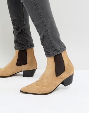 ASOS Бежевые замшевые ботинки челси с кубинским каблуком. Цвет: светло-бежевый