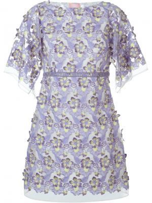 Кружевное платье Giamba. Цвет: розовый и фиолетовый