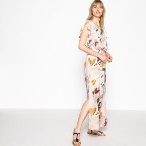 Платье прямое и длинное с цветочным принтом La Redoute Collections. Цвет: рисунок/синий фон,рисунок/фон телесный