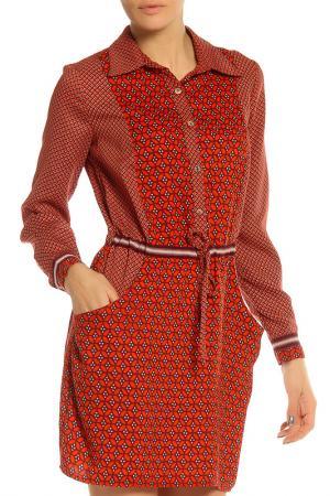 Платье SFIZIO. Цвет: оранжевый, орнамент