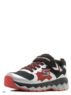 Кроссовки SKECHERS. Цвет: черный, серебристый, красный