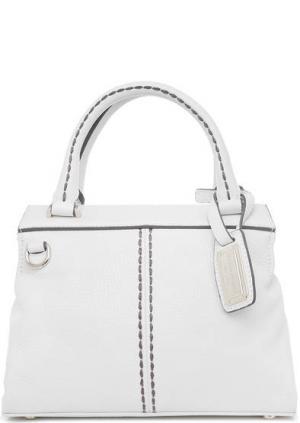Кожаная сумка с контрастной строчкой Plinio Visona. Цвет: белый