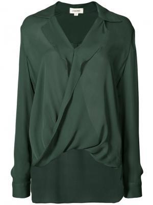 Рубашка с запахом Lagence L'agence. Цвет: зелёный